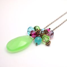 Lime greenFuchsia Bright blue Purple long necklace by sianykitty, $21.00