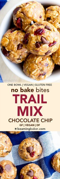 No Bake Chocolate Chip Trail Mix Energy Bites (V, GF, DF): a one bowl recipe for protein-packed energy bites bursting with whole ingredients. #Vegan #GlutenFree #DairyFree   http://BeamingBaker.com
