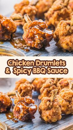 Fried chicken drumlets with spicy BBQ sauce is a very easy and delicious appetizer and side dish. Come take a look at the techniques to make it simple and easy to eat. It is also the perfect food to… More Ground Chicken Recipes, Yummy Chicken Recipes, Yum Yum Chicken, Turkey Recipes, Delicious Recipes, Simple Recipes, Spicy Recipes, Chicken Appetizers, Yummy Appetizers