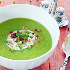 Potage aux Petits Pois Verts et au Cresson (green pea and watercress soup) (recipe in French, no translator) Can be served cold.