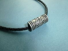 mens braided black leather necklace jewelry by wonderkath on Etsy