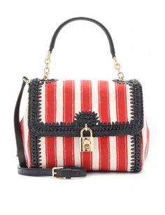 Dolce & Gabbana - DOLCE STRIPED CANVAS AND RAFFIA SHOULDER BAG