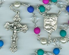 Dark Neon Multi-Colored Holy Family Rosary
