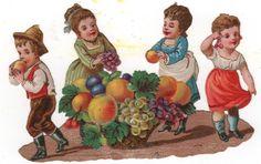 Victorian Die Cut Scrap 4 Kids and Basket of Fruit.