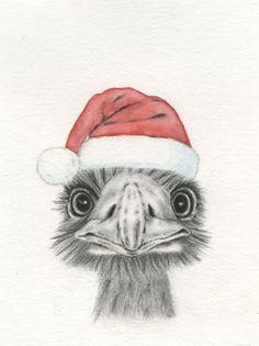 Christmas Art Holiday Art Emu in Santa's Hat 8x10 by JaclynsStudio