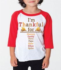Fully Customizable I'm Thankful For Kids Shirt for Boys Girls & Babies | FUNKY MONKEY THREADS, #FMT, #funkymonkeythreads, #thankful