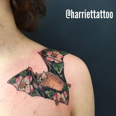 Bat tattoo flowers floral---except with a bird or fox