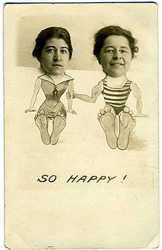 two women vintage bathing suits standee for photos