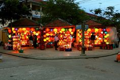 Hoi Ann vietnam.  Silk lanterns - I bought 23 of them for my house from the shop to the right - 11 for the back yard and 12 for inside. Can't wait to instal them..