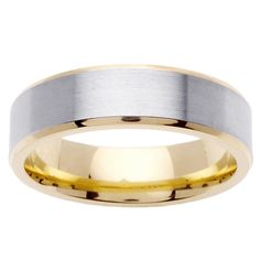 This sleek gold men's wedding band features a stylish two-tone design with a brushed and highly-polished finish. It is crafted of 14-karat two-tone gold and would make a fashionable alternative to a classic gold or silver wedding band.