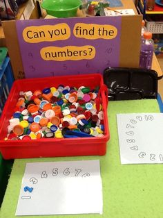 numeral match sensory bin with collected lids could hid any kind of objects in with the lids! is part of Numbers preschool - Numbers Preschool, Math Numbers, Preschool Classroom, Classroom Activities, Number Activities, Writing Center Preschool, Learning Numbers, Preschool Learning Centers, Preschool Math Games