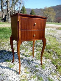 Antique Tall Slender Striped Mahogany 2 Drawer French Table Stand w/ Brass Knobs #LouisXIIIXIVXVXVI #French