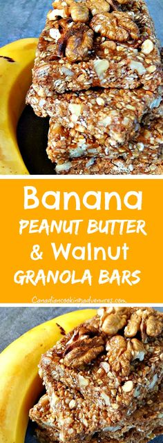 Banana, Peanut Butter & Walnut Granola Bars (No Bake) #peanutbutter #Peanut #Butter #Walnut #Granola #Bars #NoBake #Breakfast #easy #bars #foodie #canadiancookingadventures