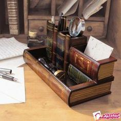 """Organizator de birou """"carti"""" - din lemn pictat"""