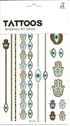 Hamsa Hand (Hand of Fatima) and the Evil Eye of Protection Metallic Temporary Art Tattoo The Artsy Nomad http://www.amazon.com/dp/B010NYS1CG/ref=cm_sw_r_pi_dp_I2QKvb1ZJFVJ9