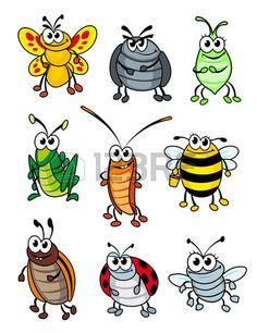Conjunto de insectos de la historieta del doodle. Ilustración vectorial Foto de archivo - 22472682