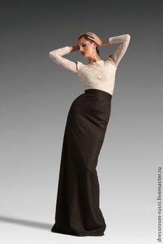 Юбка в пол. - коричневый,однотонный,юбка в пол,длинная юбка,дизайнерская одежда