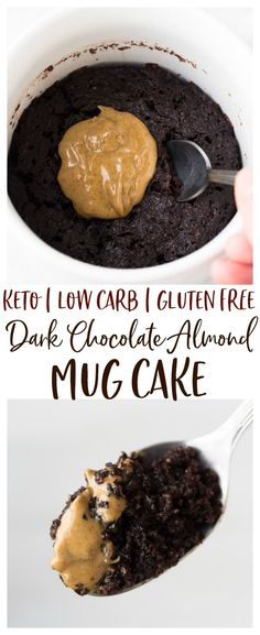 Keto Dark Chocolate Almond Mug Cake - a 1 minute rice, indulgent dessert that you make in the microwave! This cake it made with all keto friendly ingredients and is perfect for those on low carb or gluten free diets. Cake Mug, Keto Mug Cake, Keto Friendly Desserts, Low Carb Desserts, Cake Recipes, Dessert Recipes, Dessert Ideas, Appetizer Recipes, Keto Recipes