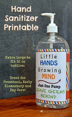 Free Hand Sanitizer Printable and More Great Back to School Ideas; Fits an extra large 32 oz bottle. Great for preschool, early elementary and day care!