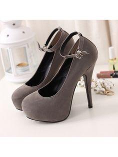 Double-Wear Round Toe Platform Ankle Strap Suede Dark Grey High Heels