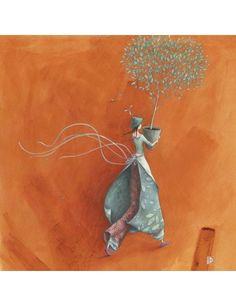 "Gaëlle Boissonnard carte postale carrée (14 cm) ""L'arbre offert"" Art And Illustration, Art Fantaisiste, Art Carte, Creative Pictures, Art Moderne, Naive Art, Whimsical Art, Beautiful Paintings, Cat Art"