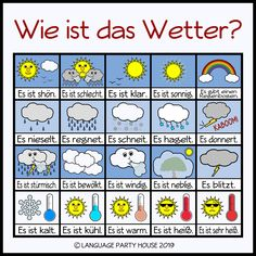 Seasons and Weather in German (Posters and Printables) - deutsch Study German, Learn German, German Grammar, German Words, Deutsch Language, Germany Language, German Language Learning, Foreign Languages, Weather Vocabulary
