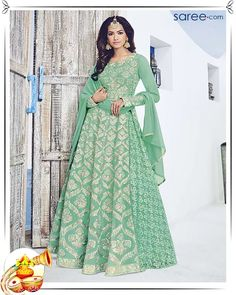 Green Georgette Anarkali Suit with Embroidery Work - 13-skdaa11844