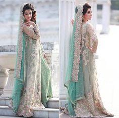 Floral mint Pakistani bridal