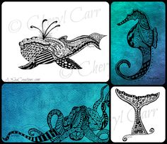 I am sooooooooo excited and proud to announce my biz partner Cheryl's new doodle-art! Here are a few of her wonderful marine animal designs... They (and more) will be available for sale at the upcoming 'Etsy Made In Canada Day' market on Sept 27! For more market info: https://www.facebook.com/events/331336807019825