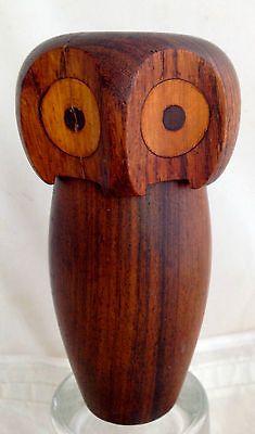Vintage Teak Owl Container removable head Skjode Skjern Inspired Bojesen Era 60s