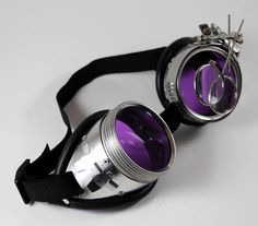 The lenses on these goggles glow bright in a UV black light, and I have ascertained from journal entries (of Dr. Jeckyll, see below) that this property, along with the color and magnifying loupes allo
