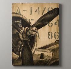 Vintage airplane decor from Restoration Hardware. Aviation Decor, Airplane Decor, Airplane Room, Aviation Nursery, Aviation Furniture, Airplane Kids, Airplane Crafts, Restoration Hardware Baby, Canvas Art