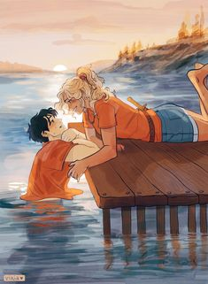 "vika on Twitter: ""At the shore🌊 #percyjackson #annabethchase #pjo #percabeth… """