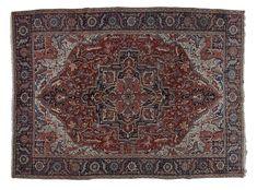 ANTIQUE HERIZ / IRAN  Item Number:19991 Width: 9 ft. 3 in. Length: 13 ft. 0 in. Field: MEDALLION Field Color: RED Border Color: NAVY www.togarrugs.com (828)-687-1968