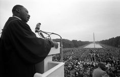 Martin Luther King Jr. speaks in front of the Lincoln Memorial at the Prayer Pilgrimage for Freedom on May 17, 1957, the third anniversary of the landmark Brown v. the Board of Education decision against segregation in public schools.
