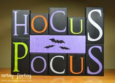 Hocus Pocus Blocks at artsyfartsymama.com #Halloween #MSHalloween Click thru for the full tutorial for this Halloween DIY idea using the Martha Stewart Crafts line