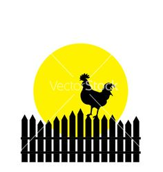 Silhouette of rooster vector