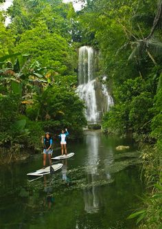 Stand Up Paddle Boarding - Mag-aso Falls, Bohol, Philippines. OH, I SO WANT TO DO THIS!