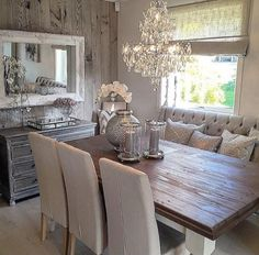 Superieur Dining Room Decor Ideas   Rustic Glam Style, Barnwood Accent Wall, Wood  Table With Upholstered Seating, Bench, Rustic Table And Crystal Chandelier.