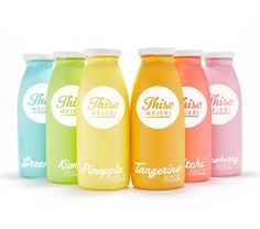 Juice packaging   colorful shrink sleeves. This is an example of the type of label we can print for you. We design, print, and apply shrink sleeves in our Burr Ridge, IL facility just outside of Chicago. http://www.augustalabel.com/shrink-sleeves/ #shrinksleeves #packaging #shrinksleeve