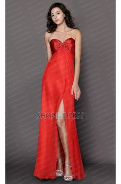 Sheath/Column Sweetheart Floor Length Elastic Woven Satin Red Prom Dress with Appliques
