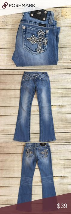 MISS ME JP5095B4 Jeans Inseam: 28.5 inches Lay Flat Waist: 13 inches Lay Flat Leg Opening: 7.5 inches Rise:  7 inches Fabric: 98% Cotton, 2% Elastin Description: Excellent Condition  Bundle & Save: 10% off or more  NO TRADES Shipping within 24 hours Miss Me Jeans Boot Cut