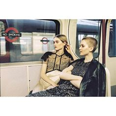 Ruth and May Bell on the tube in @Burberry Shot for the @EveningStandardMagazine by burberry