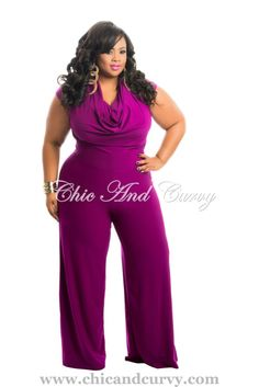 New Arrival  New Plus Size Jumpsuit with Draping Neckline in Magenta  available at: http://www.chicandcurvy.com/newarrivals/product/10381-new-plus-size-jumpsuit-in-purple-1x-2x-3x