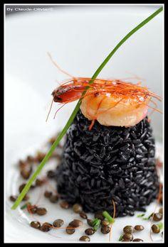 #Risotto #noir, #crevette à l'orange sanguine / black rice risotto with prawns and blood orange