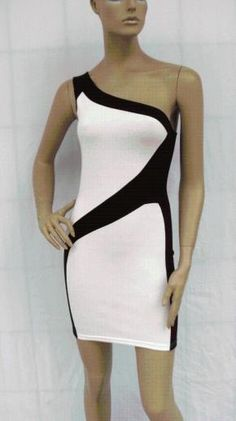BLACK WHITE COLORBLOCK ONE SHOULDER CLUBWEAR PARTY SEXY DRESS XL