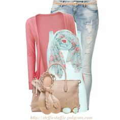 """Mint Floral Scarf"" by steffiestaffie on Polyvore"