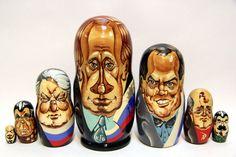 Russian Matryoshka 7pcs Russian Leaders in caricature by EtsyGrail