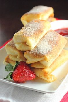 Fried Cheesecake Roll Ups with Strawberry Sauce by Brown Sugar Mama