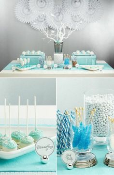 I am in love with these tree branches spray painted white. Put them in a silver or tiffany blue vase for a beautiful centerpiece.  tiffany blue birthday | http://amazingbirthdayideas.blogspot.com
